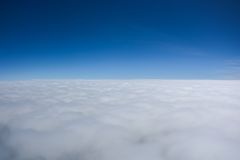 Cloudy on blue sky. Horizon between sky and clouds royalty free stock photography