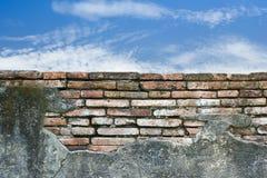 Cloudy blue sky over a brick wall Royalty Free Stock Photos