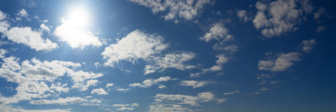 Cloudy blue sky panorama royalty free stock images