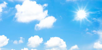 Cloudy blue sky with sun beam Royalty Free Stock Image