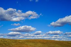 Cloudy blue sky and sunny spring field royalty free stock photos