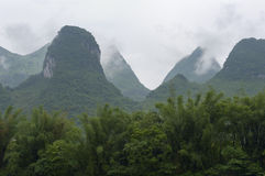 Cloudy calcareous mountains Stock Image