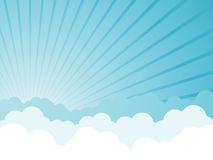 Cloudy cartoon background. Copy space stock illustration