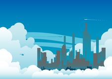 Cloudy City. This is an illustration of a City amongst huge white clouds Royalty Free Stock Photography