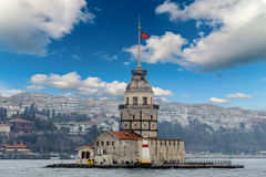 Cloudy city scape maidens tower Turkish kiz Kulesi sea shore view Royalty Free Stock Images