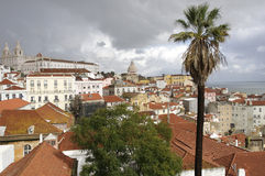 Cloudy cityscape of Lisbon Royalty Free Stock Images