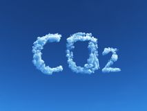 Cloudy co2. Clouds forms the symbol co2 - 3d illustration stock illustration