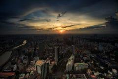Free Cloudy Dark Sky Sun Behind Clouds Above City At Sunset Stock Photos - 106479993