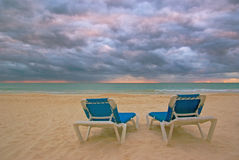 Cloudy day. A cloudy day on a beach resort in Mexico Royalty Free Stock Images