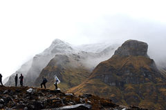 Cloudy day in the Annapurna Base Camp, Nepal Royalty Free Stock Photos