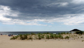 Cloudy day at the beach Royalty Free Stock Images