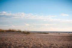 Cloudy day on the beach stock photos
