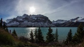 Cloudy day at Bow Lake stock footage