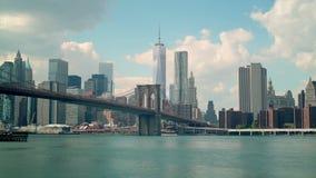 Cloudy day brooklyn bridge manhattan panoramic view 4k time lapse new york stock video