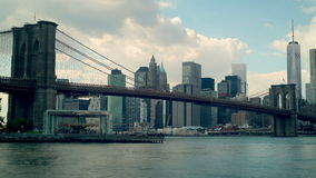 Cloudy day brooklyn bridge panoramic view 4k time lapse new york stock video footage