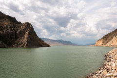 Cloudy day at Buffalo Bill Reservoir, Buffalo Bill State park, W Stock Images