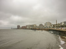 Cloudy Day at the Coast of Montevideo Stock Images