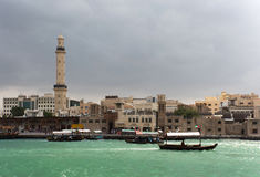 Cloudy day of Deira. This image was taken in Deira, Dubai. The color of water will change to green during the cloudy day. Ito s very unique and special Royalty Free Stock Photography