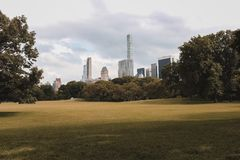 Cloudy day but full of color in Central Park royalty free stock image