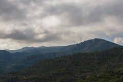 Panoramic view of the garraf natural park. A cloudy day at the garraf natural park near Barcelona, Catalunya Royalty Free Stock Photos
