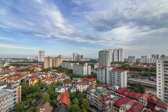 Cloudy day in Hanoi 2018. A shot from above of apartment building,Hoang Mai district,Hanoi city 2018 Stock Image
