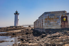 cloudy day harbor lighthouse nh portland portsmouth стоковые фото