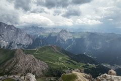 Cloudy day in Italian Dolomites Alps. Beautiful mauntain landsca Royalty Free Stock Photo