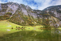 Cloudy day in the Koenigssee Royalty Free Stock Images