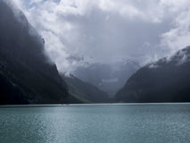 Cloudy Day At lake Louise. In banff national park Stock Photos
