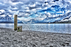 Cloudy day at lake lucerne Royalty Free Stock Photo