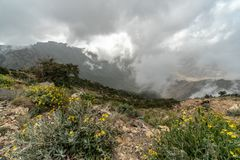 Cloudy view from one of the highest peaks in Saudi Arabia: Jebel Sawda stock image