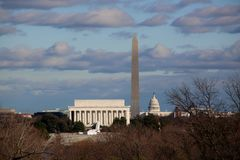 Cloudy day. Lincoln memorial Washington monument Royalty Free Stock Photo