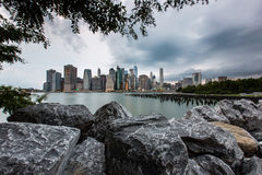 Cloudy day at Lower Manhattan Skyline view from Brooklyn Bridge Royalty Free Stock Photos