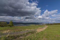 Cloudy day near Milada lake in Usti nad Labem Royalty Free Stock Image