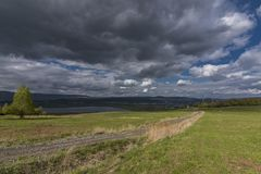 Cloudy day near Milada lake in Usti nad Labem Stock Photo