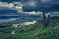 Cloudy day over Old Man of Storr, Scotland. Europe stock image