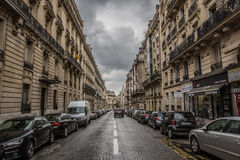 A cloudy day in Paris. Street in paris in a cloudy day Stock Photography