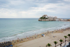 Cloudy day at Peñíscola. Cloudy weather over Peñiscola's Castle and its beach Stock Photography