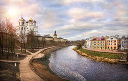 Almost a cloudy day. At the Pskov fortress on the quiet river Stock Images