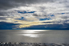 Cloudy day of salt lake. With a little sunshine and wind royalty free stock photos