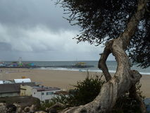 Cloudy Day. Santa Monica, California on a dreary day.  Looking out onto the Santa Monica Pier Stock Photography