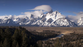 Cloudy Day Snake River Jagged Peaks Grand Teton Wyoming Stock Images