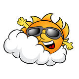 Cloudy Day with Sun Cartoon Stock Images