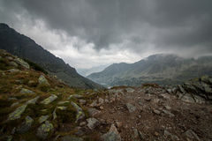 Cloudy day in Tatra Mountains on a trail from Zawrat to Five Polish Ponds Hostel Royalty Free Stock Photo