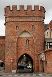 Cloudy day in Torun. Fragment of the historic buildings in Toruń, Poland stock images