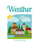 Cloudy day in town illustration Royalty Free Stock Photo