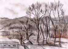 Hills of a city of Itaka. Cloudy day of winter. Hills in the City Itaka, the USA Royalty Free Stock Photo