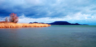 Cloudy day in winter time at Lake Balaton, Royalty Free Stock Image