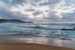 Cloudy Daybreak Seascape in Soft Blues. Long Exposure at Killcare Beach, Central Coast, NSW, Australia Stock Image