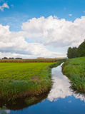 A cloudy ditch. Wonderful reflected sky in a small Dutch ditch Stock Photos